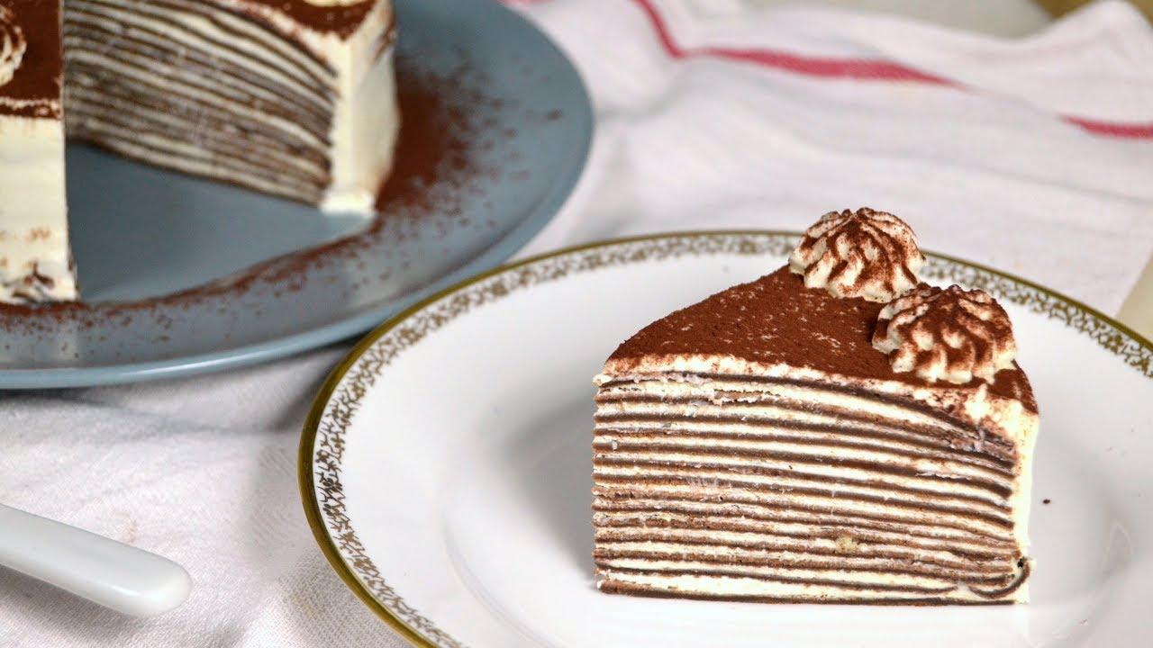 Tarta De Crepes De Chocolate Y Nata Irresistible Y Muy Fácil Youtube