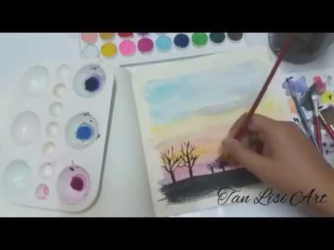 Easy watercolours sunset for beginner and ideas to cover up fails painting | matahari terbenam |  黄昏