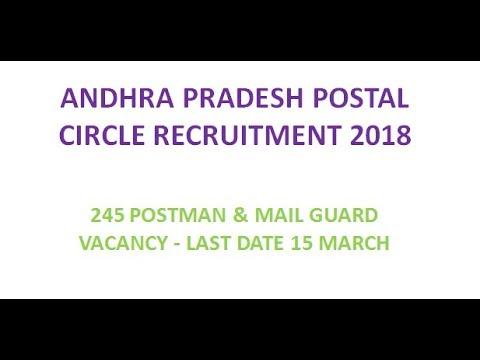 Andhra pradesh postal circle recruitment 2018, postman & mail guard recruitment and exam pattern