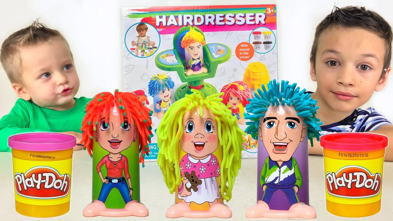 Парикмахерская из Пластилина Play Doh Hairdresser Видео для Детей Лепим из пластилина