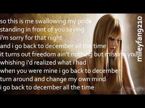 Taylor Swift -  Back To December (LYRICS)