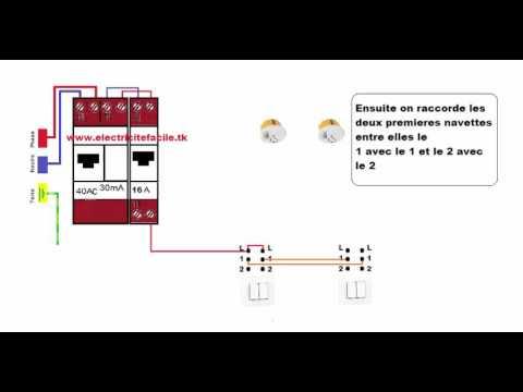 Schema raccordement cablage interrupteur double va et - Branchement va et vient ...