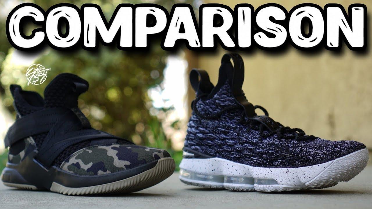 1c647f122c03 Nike Lebron Soldier 12   Lebron 15 Comparison! - YouTube