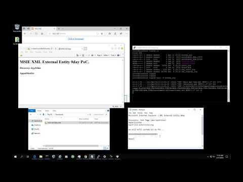 Internet Explorer  / XML External Entity Injection 0day / CVE-2019-0995