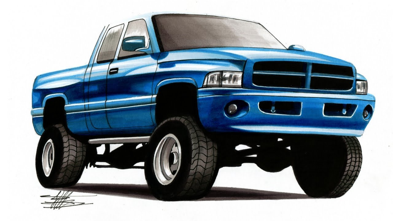 Realistic Car Drawing Lifted Dodge Ram Time Lapse