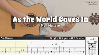 As the World Caves In - Matt Maltese | Fingerstyle Guitar | TAB + Chords + Lyrics