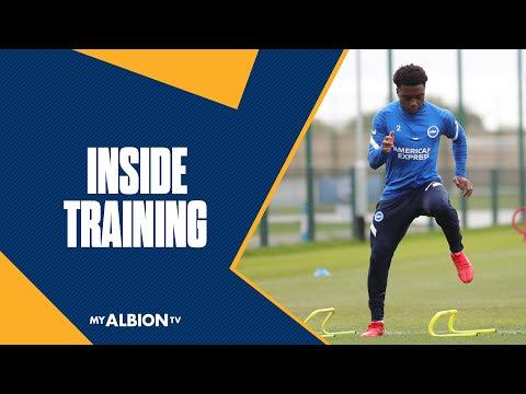 Brighton & Hove Albion training before the Arsenal clash