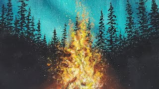 Campfire Forest Night Sky Aurora Borealis Acrylic Painting LIVE Tutorial