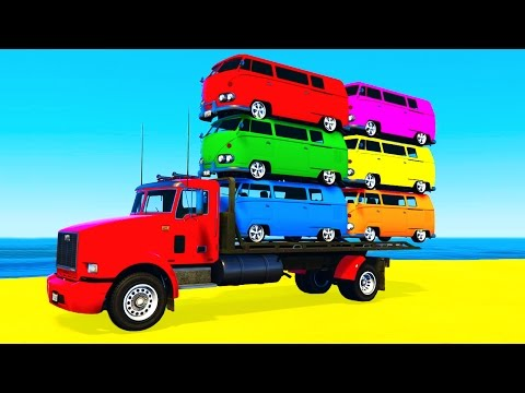 Thumbnail: COLOR BUS on TRUCK and Spiderman Cars Cartoon for Kids & Fun Colors for Children Nursery Rhymes