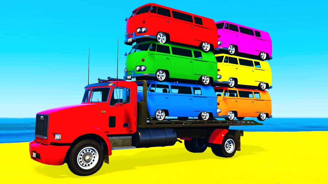 COLOR BUS on TRUCK and Cars Cartoon for Kids Fun Colors for