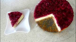 Cheesecake Recipe, Strawberry Cheesecake, Easy and Simple cheesecake with strawberry sauce