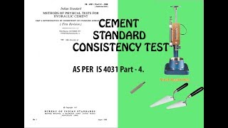 Cement consistency test procedure by vicat apparatus, quality control test for cement, london cement