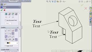 How to add Note Annotations in Solidworks Drawings
