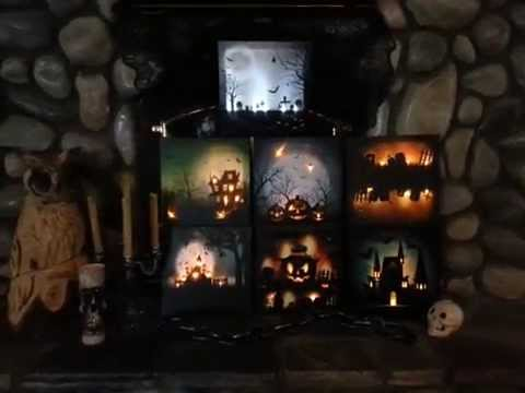 halloween light up canvas pictures youtube. Black Bedroom Furniture Sets. Home Design Ideas