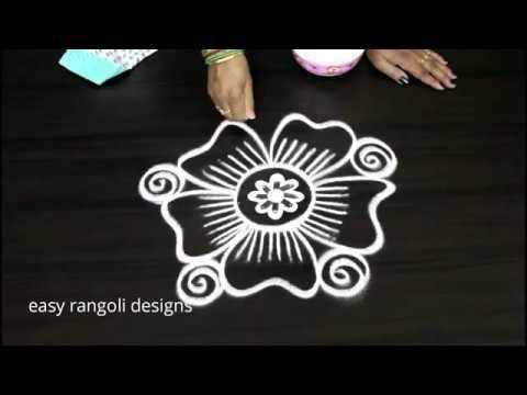 Easy n simple  kolam  with out  dots  || cute  rangoli designs  || latest flower  muggulu