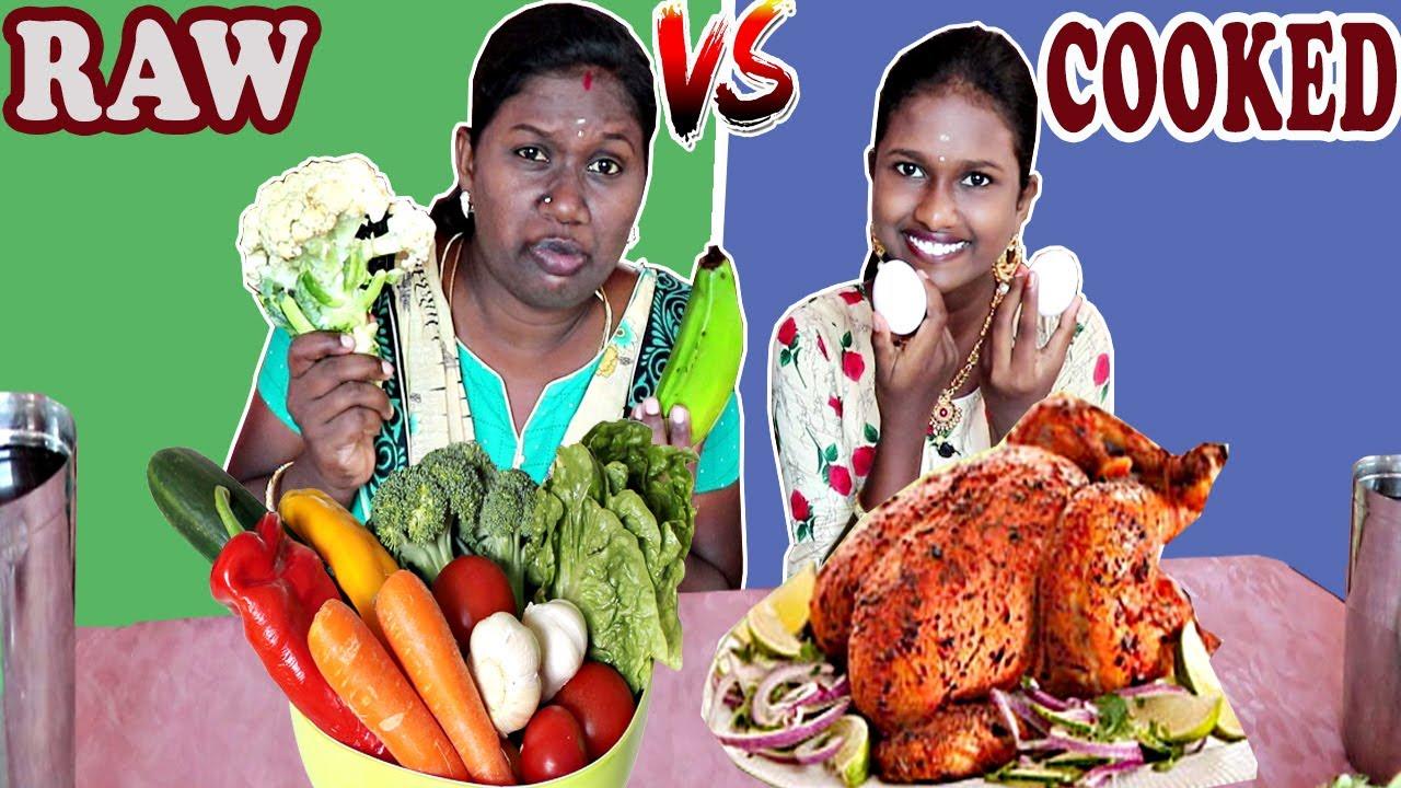 RAW FOOD vs COOKED FOOD CHALLENGE IN TAMIL FOODIES DIVYA VS ANUSHYA    MIRCHI BAJJI/ONIAN BAJJI