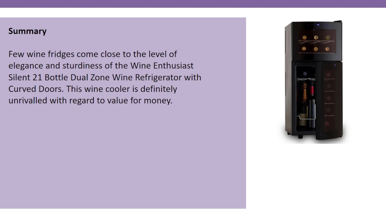 Wine Enthusiast Silent 21 Bottle Dual Zone Refrigerator With Curved Doors Review