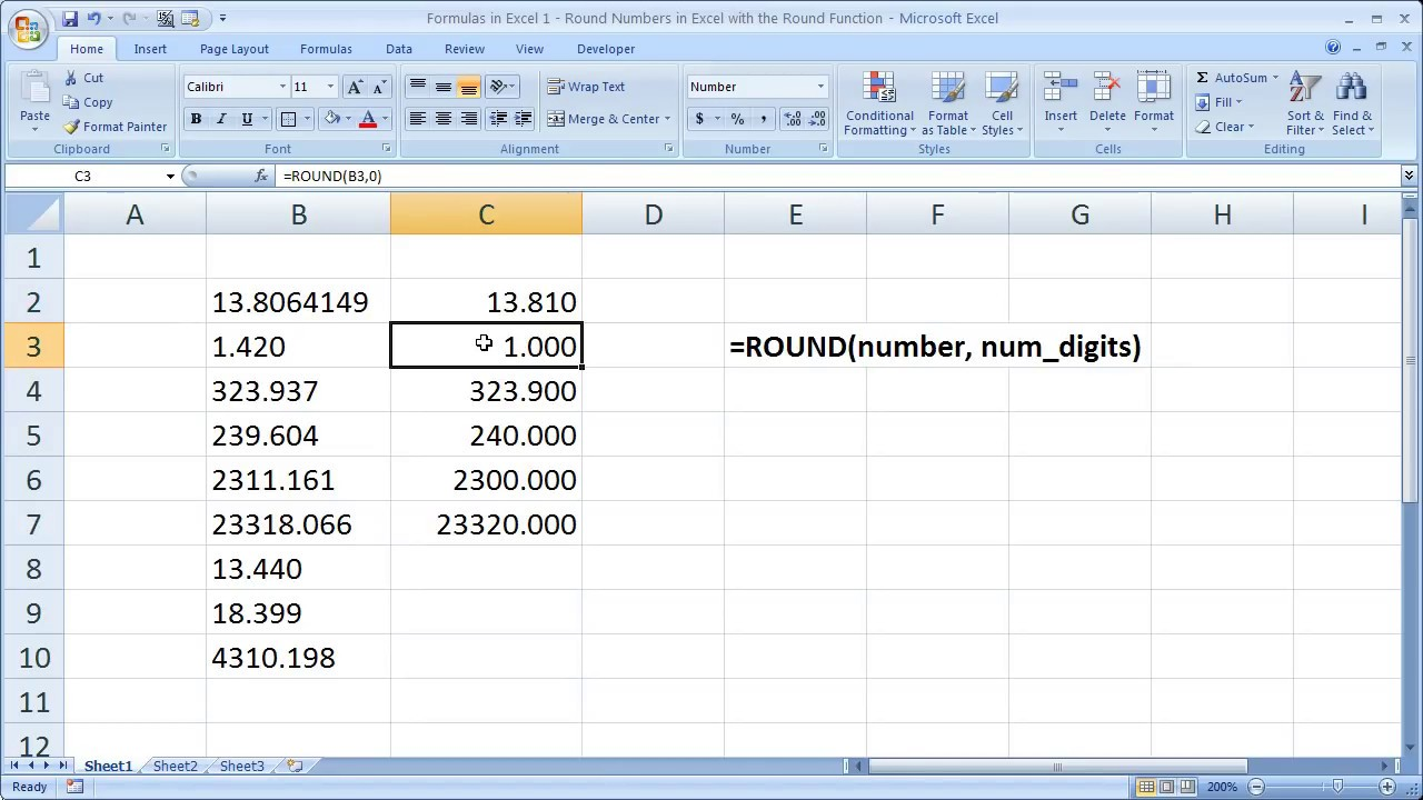 Formulas in Excel 1 - Round Numbers in Excel with Round Function ...