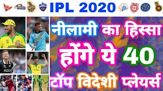IPL 2020 - List Of All 40 Big Foreign Players For IPL Auction   MY Cricket Production