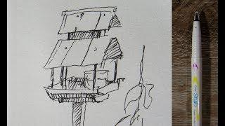desenhando a casa dos pássaros