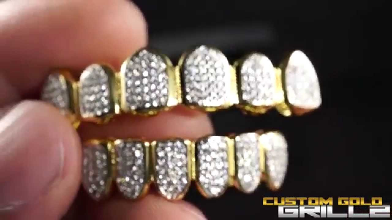 Custom Gold Grillz - 18k Gold Teeth Diamond Set - YouTube e540faef6