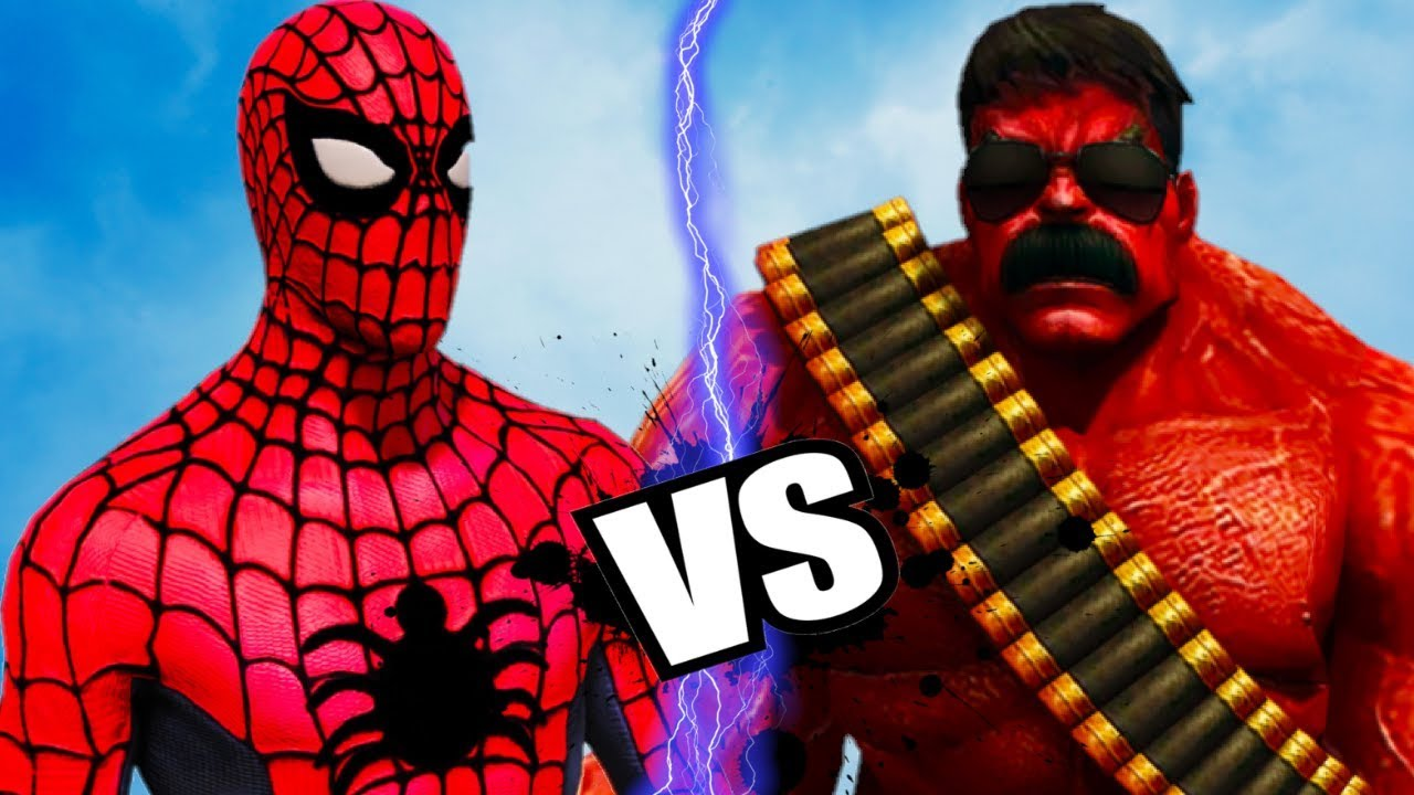 BIG RED HULK VS SPIDERMAN -  EPIC BATTLE