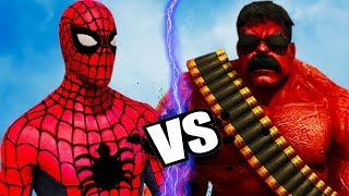BIG RED HULK VS SPIDERMAN -  EPIC BATTLE