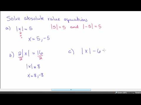 Glencoe Algebra 1 - Chapter 2 - Section 5 - Solving Equations with absolute  value