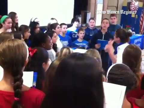 Harborside Middle School chorus in #milford sings 4 Veterans Day program@ school. Localnews@ newhave
