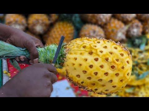 Pineapple Slicing   ROAD SIDE HEALTHY STREET FOOD   4K VIDEO   MUMBAI STREET FOOD street food
