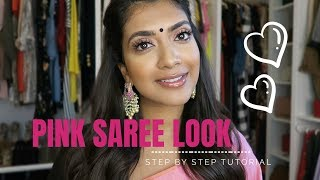 Pink Saree Look for Diwali | Step by Step tutorial | Vithya Hair and Makeup Artist