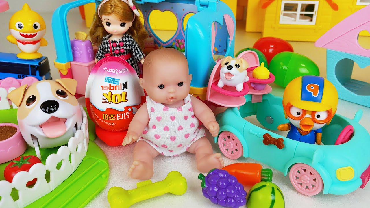 Baby doll playground and Camping car toys play house story - ToyMong TV 토이몽