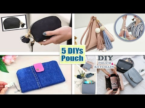5 ADORABLE DIY POUCH DESIGNS TUTORIAL // For Cash and Credit Cards Woman Purse