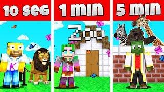 NOOB VS PRO CONSTRUIR UN ZOO EN 5 MINUTOS, 1 MINUTO Y 10 SEGUNDOS EN MINECRAFT