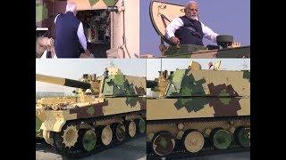 PM Narendra Modi checks out tanks in Gujarat