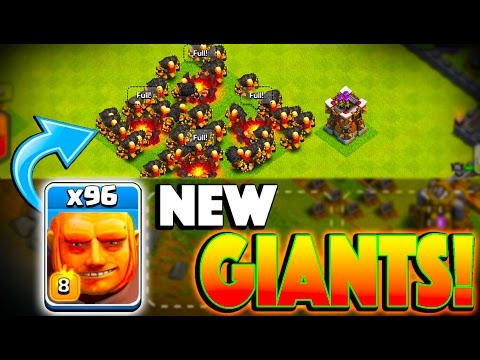 x96 NEW GIANTS! - Clash of Clans - NEW LVL 8 GIANT & LVL 14 ARCHER TOWER UPDATE!