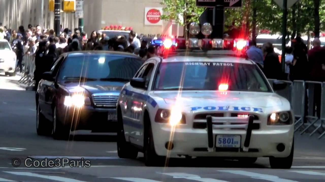 NYPD Dodge Charger + Crown Vic at WTC for Obama - YouTube