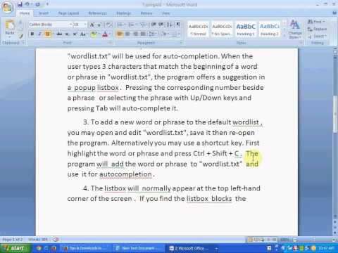 Auto-complete text in all windows applications using free portable typingAid