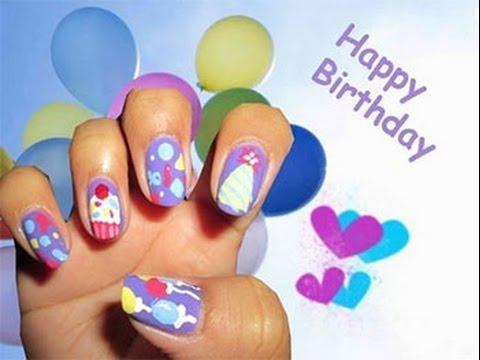 cute happy birthday nail art design
