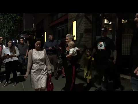 SINGER PINK LEAVING TRIBECA HOTEL WITH HUSBAND CAREY HART AND KIDS