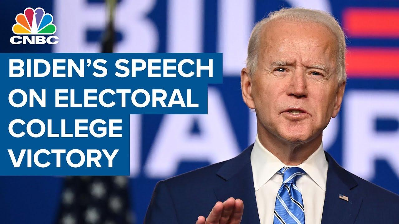 Watch President-elect Joe Biden's speech on his Electoral College victory