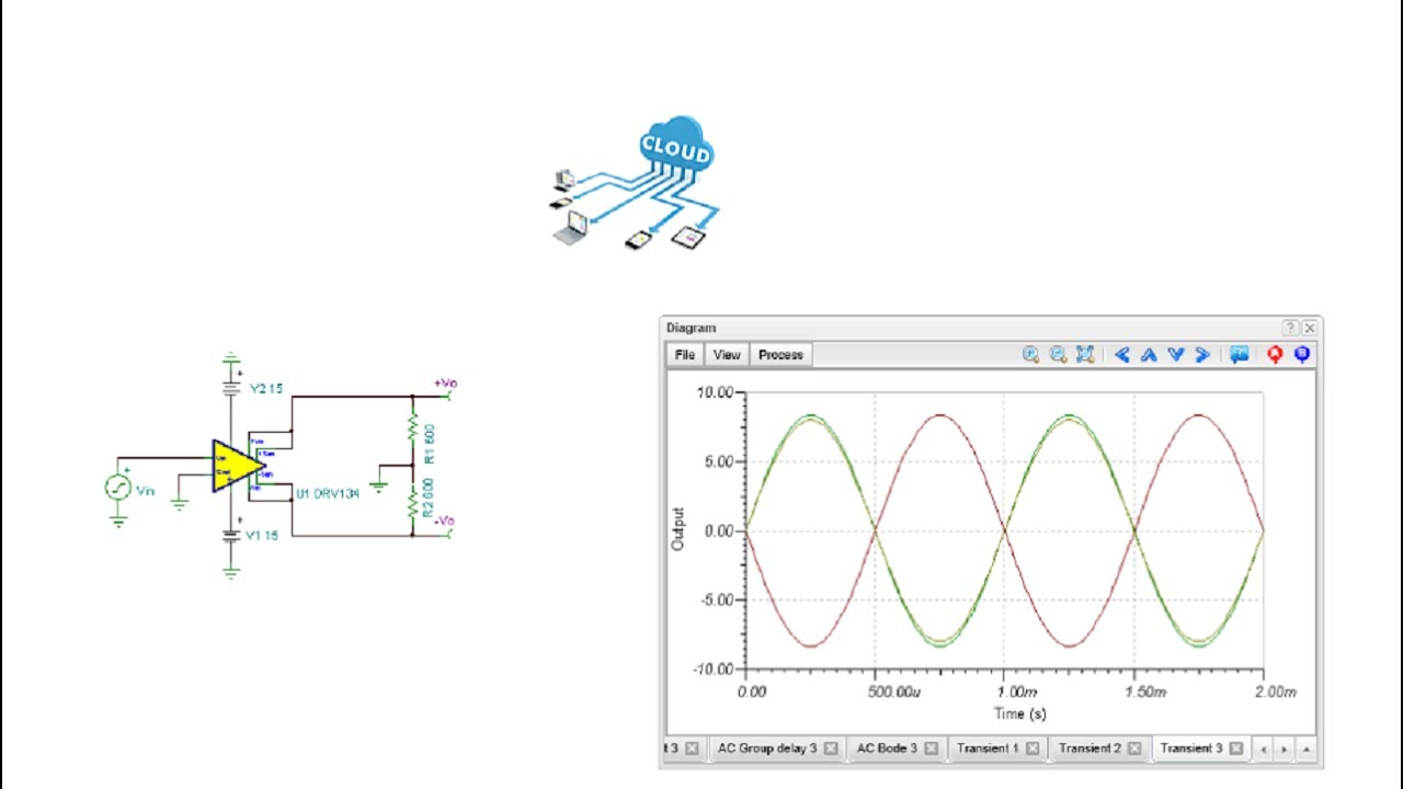 Online Circuit Simulation of a Single-ended input differential output  amplifier