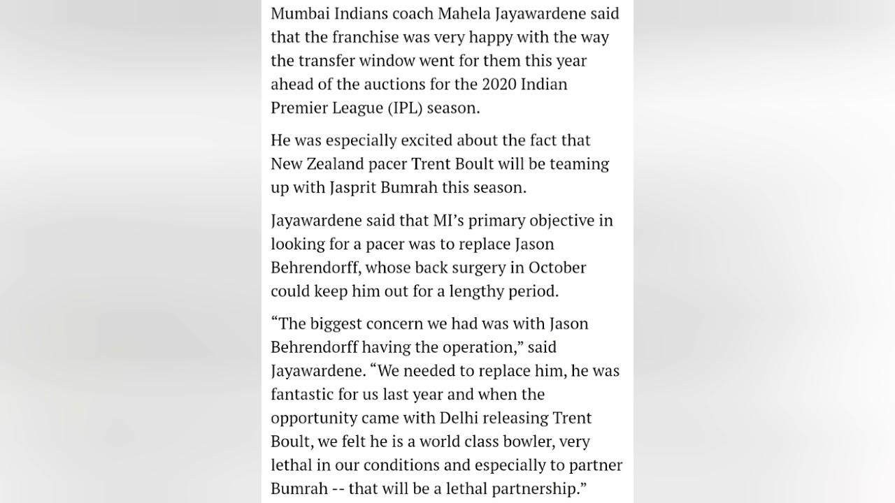 IPL retentions: 'Boult, Bumrah can form lethal partnership for Mumbai Indians,' Jayawardene