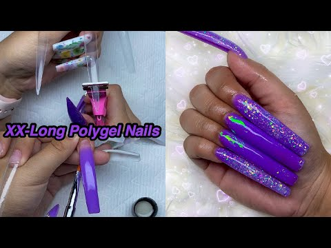 DOING EXTRA LONG GLITTER POLYGEL NAILS! Testing A Saviland Rainbow Kit   Nail Tutorial