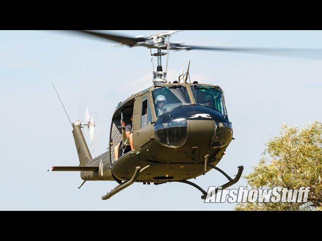 UH-1 Huey and O-2 Skymaster Flybys - YAM Friday Night Flights