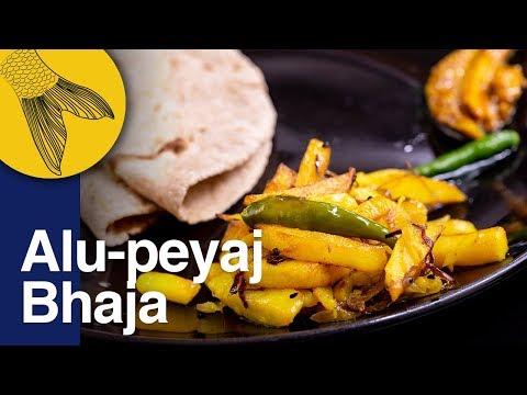 Aloo-Peyaj Bhaja—Easy, Quick Bengali Sauteed/fried Potato Recipe—Classic Rooti-Aloo Bhaja