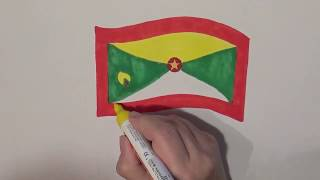 Learn geography for kids How to draw a flag Grenada