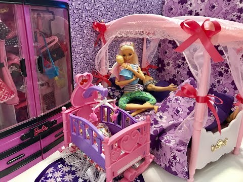 Barbie Bedroom Morning Routine! Baby! Haley and Ally!