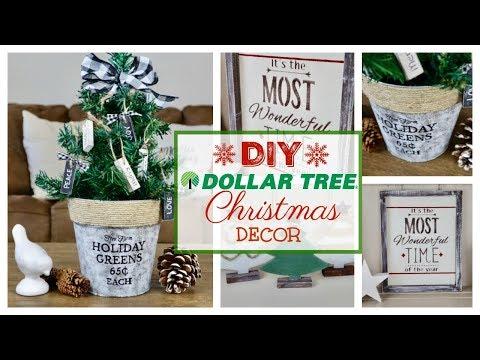 DIY DOLLAR TREE CHRISTMAS DECOR   3 FARMHOUSE PROJECTS