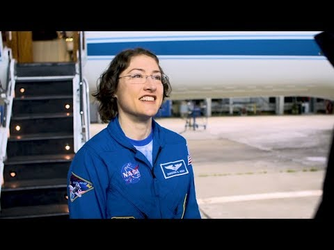 Record-Setting Space Station Crew Member Returns to Houston